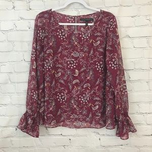 WHBM Magenta floral chiffon top with ruffle sleeve